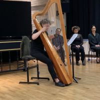 Exams: Carlotta's baroque harp exam with teacher Christina Pluhar